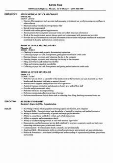 medical office specialist resume resume sle