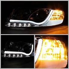 02 05 audi a4 s4 fiber optic style led projector headlights black