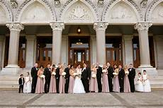 mauve and black wedding party