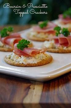 boursin and prosciutto topped crackers are an easy appetizer recipe boursincheese suburbia