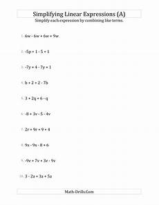 algebra simplify expressions worksheets 8391 simplifying linear expressions with 4 terms a