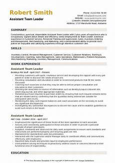 assistant team leader resume sles qwikresume