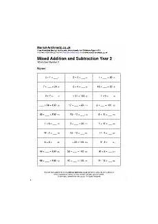 mixed addition and subtraction year 2 worksheets free printable pdf
