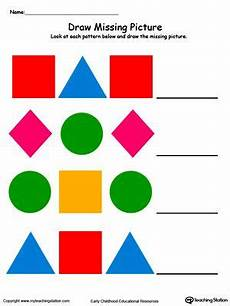 color patterns worksheets 53 draw and color the missing shape to complete the pattern math patterns kindergarten worksheets