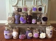 plum jars lavender jars lilac jars burlap wedding rustic wedding decor