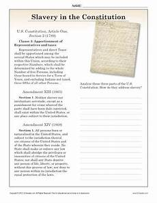 slavery in the constitution 9th 10th reading comprehension worksheets