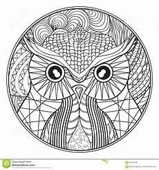 Malvorlage Eule Mandala Mandala Mit Eule Vektor Abbildung Illustration Farbe
