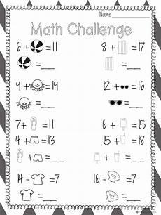 freebie summer themed missing addend and minuend worksheet first grade lessons kindergarten