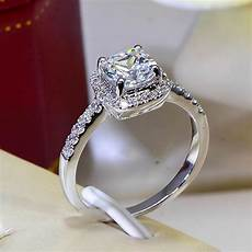 ring diamond wedding cushion 2 carat imitation diamonds engagement ring