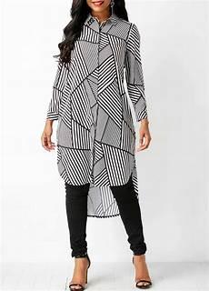 turndown collar printed dip hem blouse printed turndown collar dip hem blouse on sale only us 33