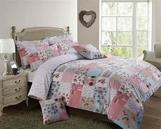 Pink And White Duvet Covers by Pink White Blue Patchwork Floral Single Cotton Blend Duvet