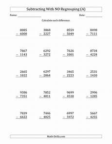 subtraction worksheets regrouping 4 digit 10234 4 digit minus 4 digit subtraction with no regrouping a subtraction worksheet