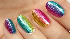rock the rainbow glitter nail art diy tutorial