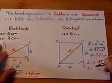 fl 228 chendiagonalen im rechteck und im quadrat berechnen