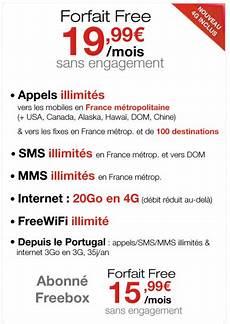 forfait free telephone portable free mobile 20 go de 4g incluse pour le forfait 224 15 99