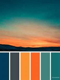 orange teal sky inspired color palette bedroom color