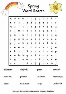 spring word search spring words spring word search childrens word search