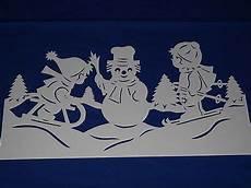 fensterbild tonkarton winter weihnacht schlitten skier