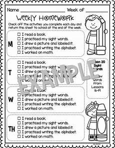 editable weekly homework checklists compatible with