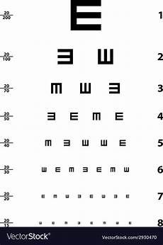 Snellen Eye Examination Chart Snellen Eye Test Chart Royalty Free Vector Image