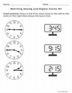 matching analog and digital clocks 3 grade 2 free
