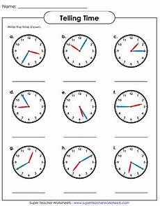 time worksheets nearest 5 minutes