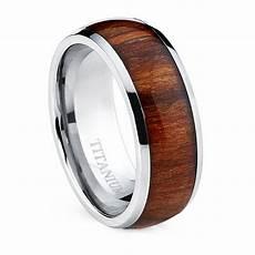 oliveti men s dome titanium ring with real santos rosewood