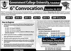 latest gcuf 6th convocation how to register last date 20 11 2015 apply now latest govt in
