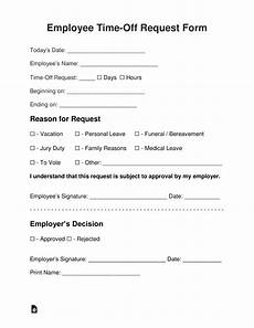 employee time off request form template employee time off vacation request form eforms free fillable forms