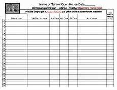 open house parent sign in sheet spreadsheet editable by happyedugator