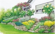 terrassenbeete auf hohem niveau bepflanzung garten