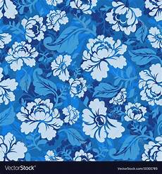 Blue Seamless Pattern Retro Floral Texture Vector Image