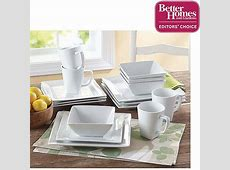 Better Homes and Gardens 16 piece Square White Porcelain