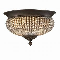 cristal de lisbon 2 light flush flush chandelier flush lighting bronze