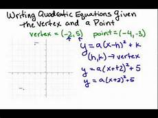 writing quadratic equations given the vertex and a point