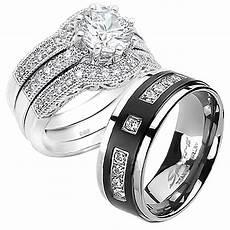 his hers 4pcs black titanium 9 czs matching band cut sterling silver wedding ring