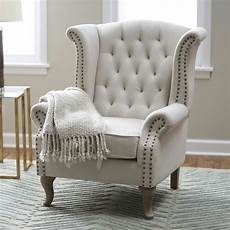 livingroom accent chairs wingback accent chair tufted nailhead trim linen blend