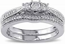 jcpenney modern 1 3 ct t w diamond 10k white gold 3 ring bridal ring shopstyle