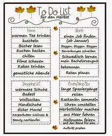 Meine To Do Liste F 252 R Den Herbst