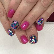 hot pink and confetti glitter gel nails light elegance
