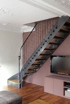 escalier metal et bois photo dt99 esca droit 174 1 4 tournant bas escalier
