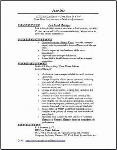 fast food manager resume occupational exles sles free edit with word