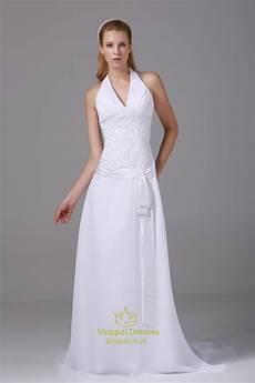 Halter White Wedding Gown