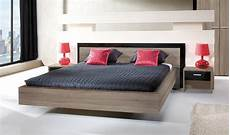 lit design lit adulte moderne chene et noir brillant 160 x 200 cm miya