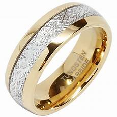 8mm mens tungsten carbide ring meteorite inlay 14k gold jewelry wedding band size 5 16 wedding