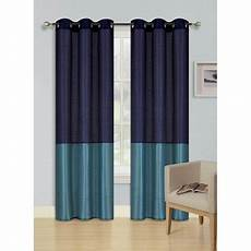 Navy And Teal Curtains by 2pc Navy Blue Teal Heidi Faux Silk Drape Panel Top Chrome