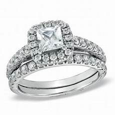 1 3 4 ct t w princess cut diamond frame bridal in 14k white gold from this moment
