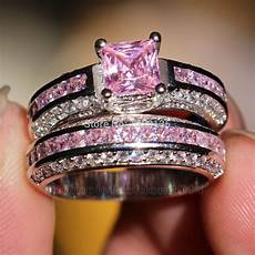 pink diamond wedding ring sets wieck trendy engagement 10kt white gold filled
