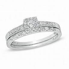 1 4 ct t w princess cut diamond frame bridal in