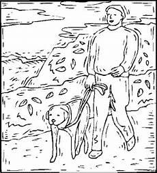 Ausmalbilder Tiere Und Menschen Mensch Mit Hund An Leine Ausmalbild Malvorlage Tiere
